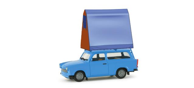 Trabant 601 S Universal con tienda de campaña (1963) Herpa 1/87 Azul Tienda Montada