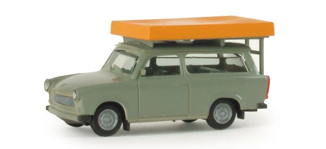 Trabant 601 S Universal con tienda de campaña (1963) Herpa 1/87 Gris Tienda cerrada