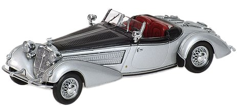 Horch 855 Special Roadster (1938) Minichamps 1/43 Negro - Plata