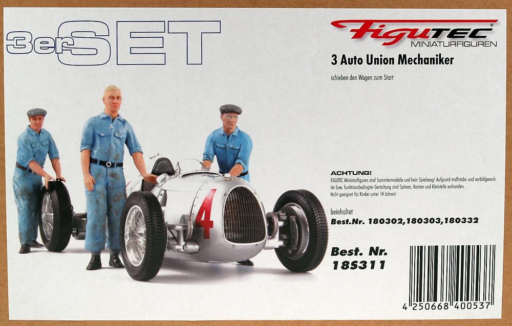 Conjunto de 3 mecánicos Auto Union Figutec 18S311 1/18