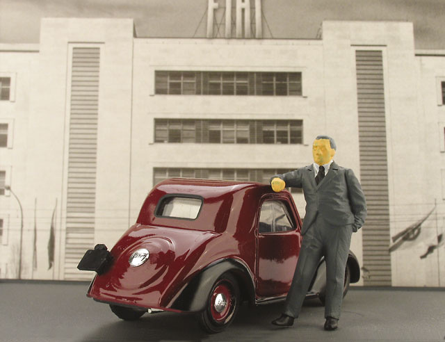 Fiat 500A Topolino con Dante Giacosa (1936) Brumm 1/43