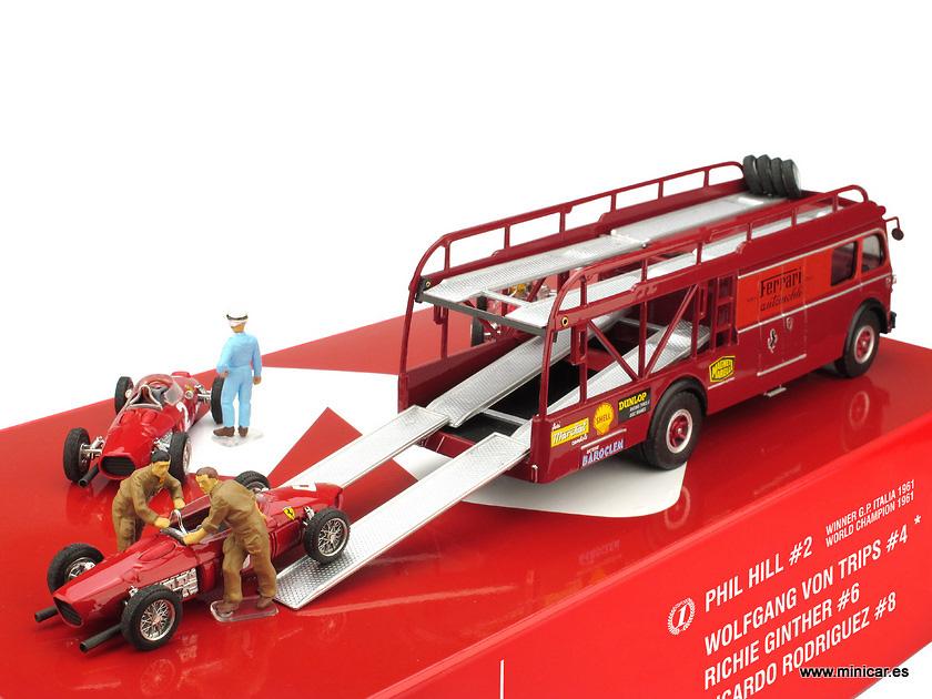 Race Transporter Ferrari Set Fiat 642 + 3 F156 y 2 Mecánicos (1961) Brumm RTS02 1/43