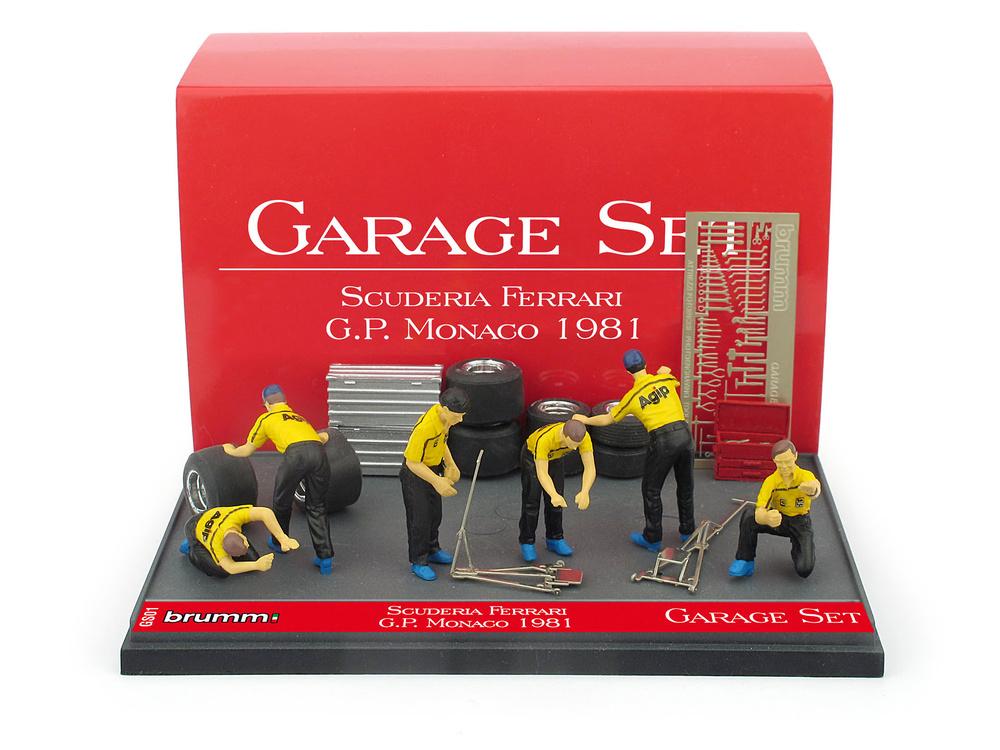 Set Garage de 6 mecánicos con accesorios Escudería Ferrari