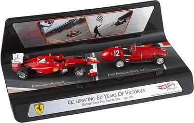 """60 años de éxitos"" Ferrari F150 Fernando Alonso y Ferrari 375 Froilán Gonzalez (1951-2011) Mattel 1/43"