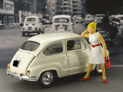 "Fiat 600D ""Ley Merlin"" con Figuras (1958) Brumm 1/43"