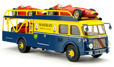 "Fiat 642 Race tansporter ""SET Maserati Garaje Monza"" (1957) Brumm 1/43"