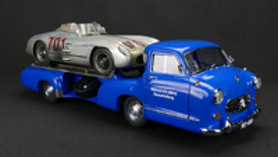 "Mercedes ""Blue Monder"" + Mercedes SLR nº 701 (1954-55) CMC 1:18"