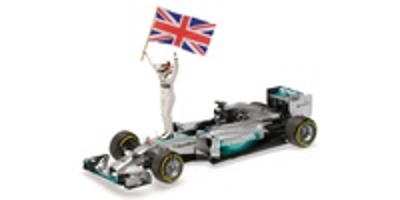 "Mercedes W05 ""1º GP. Abu Dhabi"" nº 4 Lewis Hamilton figura con bandera (2014)  Minichamps 1:18"