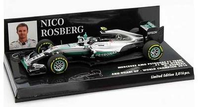 """Mercedes W07 """"GP. Abu Dhabi"""" nº 6 Nico Rosberg (2016) Minichamps 1:43"""