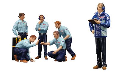 "Set de 6 figuras F1 Pit Crew  ""Team Tyrrell"" (1976) True Scale Model 1/18"