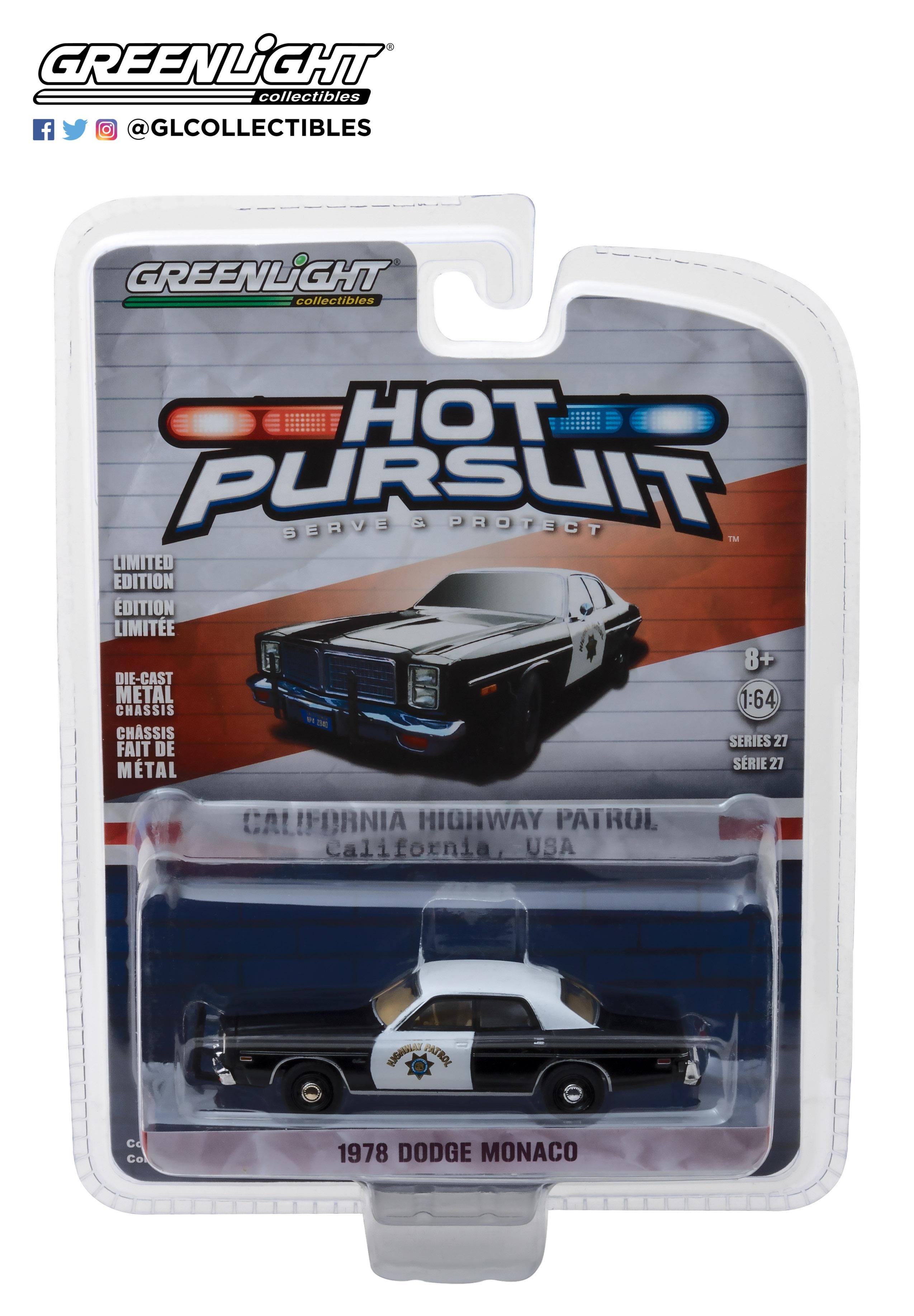 Dodge Monaco - California Highway Patrol (1978) Greenlight 1/64 Negro - Blanco Greenlight versión estandar