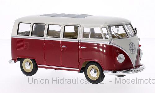 Volkswagen T1 Bus (1963) Welly 1:24 Blanco - Rojo