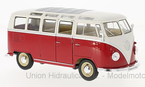 Volkswagen T1 Samba Bus (1963) Welly 1:24 Blanco - Rojo