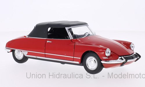 Citroen DS19 Cabriolet con Capota (1961) Welly 1:24 Rojo