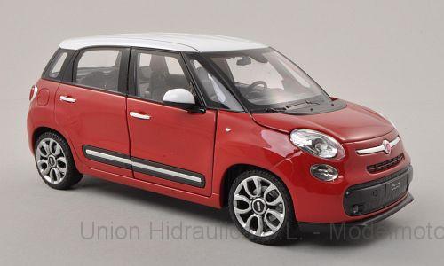 Fiat 500L (2013) Welly 1:24 Rojo Techo Blanco