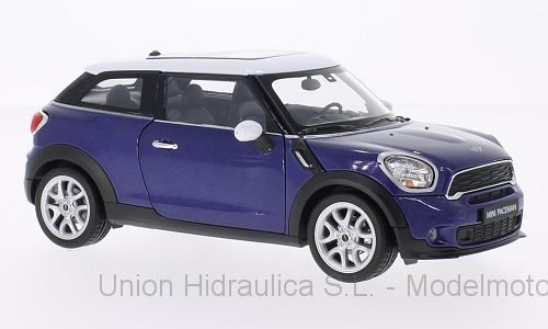 Mini Cooper S Paceman (2012) Welly 1:24 Azul Oscuro Techo Blanco