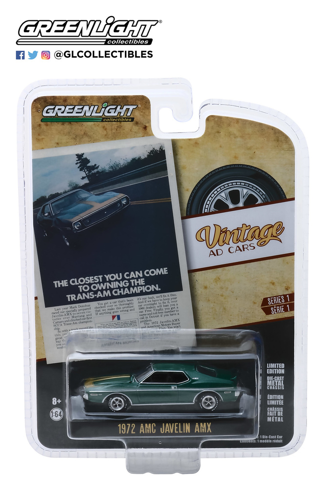 "AMC Javelin AMX ""The Closest You Can Come To Owning The Trans-Am Champion"" (1972) Greenlight 39020D 1/64"
