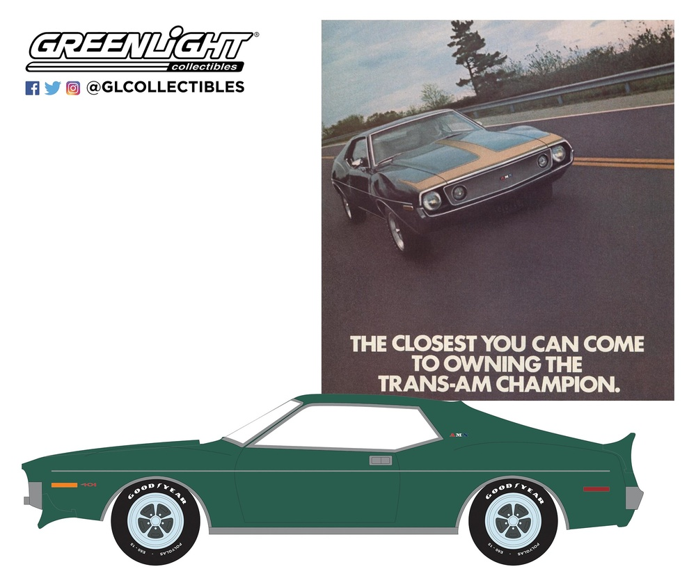 "AMC Javelin AMX ""The Closest You Can Come To Owning The Trans-Am Champion"" (1972) Greenlight 1/64"