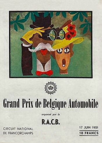 Poster GP. F1 Bélgica 1951