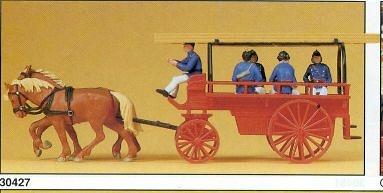 Carro de Bomberos (1900) Transporte de personal Preiser 30427 1/87