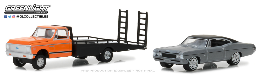 Chevrolet C30 Plataforma (1972) + Chevrolet Impala SS (1968) Greenlight 33120A 1/64