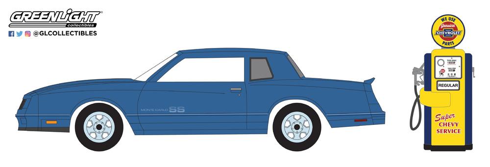 Chevrolet Monte Carlo SS con surtidor antiguo (1984) Greenlight 97050F 1/64