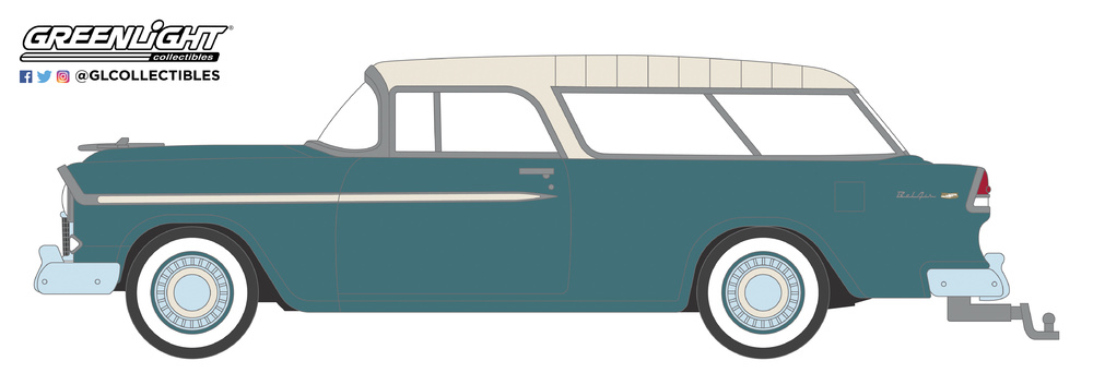 29950-A 1:64 Estate Wagons Series 3 - 1955 Chevrolet Nomad - Regal Turquoise and India Ivory Solid Pack