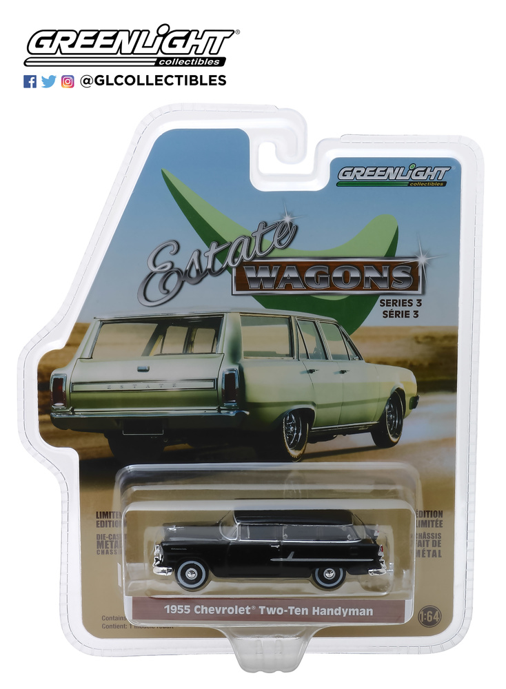 29950-B 1:64 Estate Wagons Series 3 - 1955 Chevrolet Two-Ten Handyman - Onyx Black Solid Pack