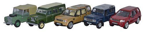 Conjunto 5 Land Rover Series, Defender, Disco, Freelander (1948-2010) Oxford 76SET32 1/76