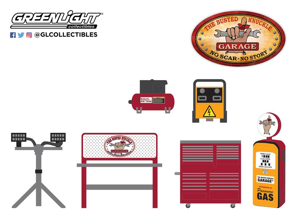 Conjunto de herramientas Auto Body Shop Busted Knuckle Garage Greenlight 16020B 1/64