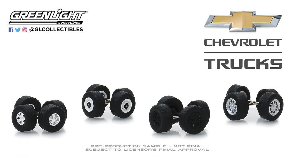 Conjunto de llantas y neumáticos Auto Body Shop Chevrolet Trucks Greenlight 16030A 1/64