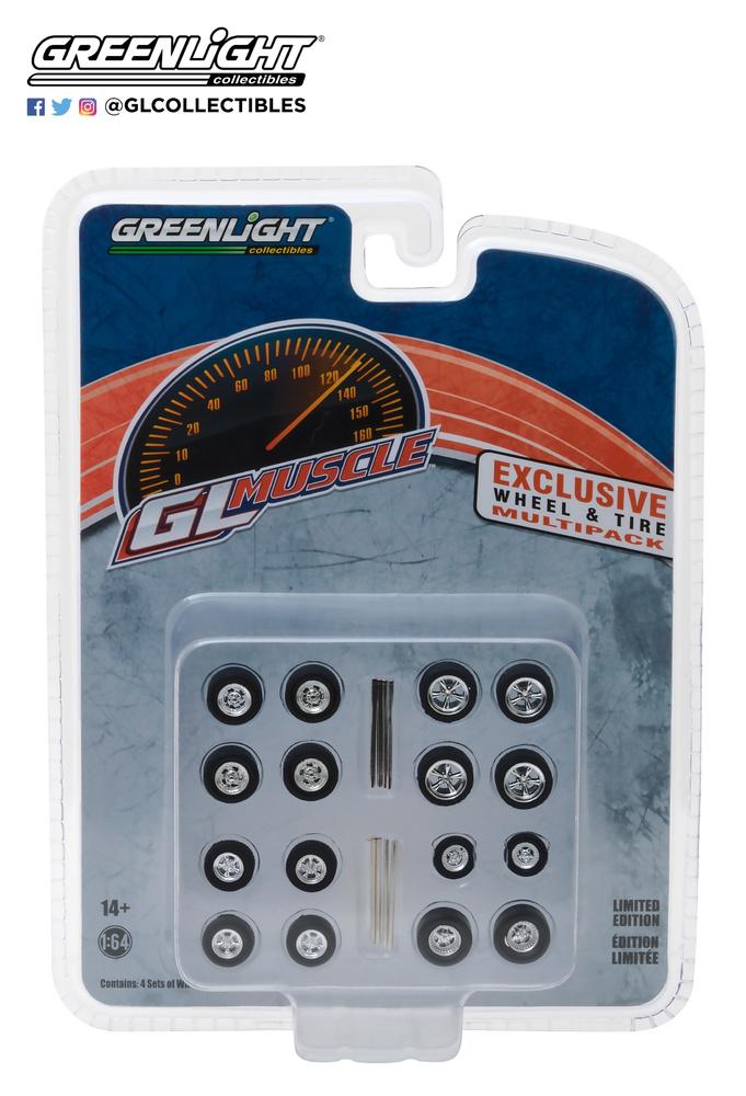 Conjunto de neumáticos GL Muscle con llanta Greenlight 1/64