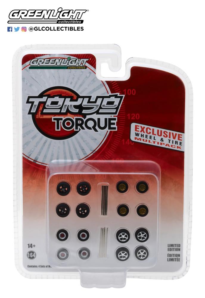 Conjunto de neumáticos Tokio Torque con llanta Greenlight 13163 1/64