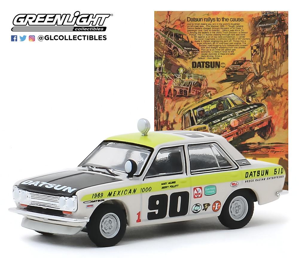 """Datsun 510 Sedán nº 90 (1969) México 1000 """"Datsun Rallys To The Cause"""" Greenlight 39020B 1/64"""