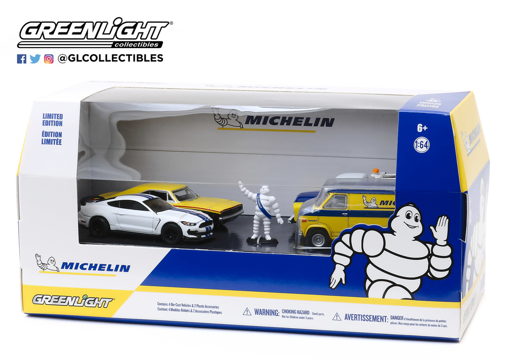 Diorama 4 vehículos Michelin Service Center Greenlight 58049 1/64