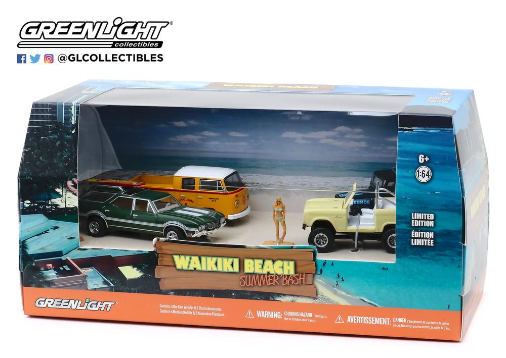 Dioramas 4 vehículos Waikiki Beach Summer Bash Greenlight 58050 1/64
