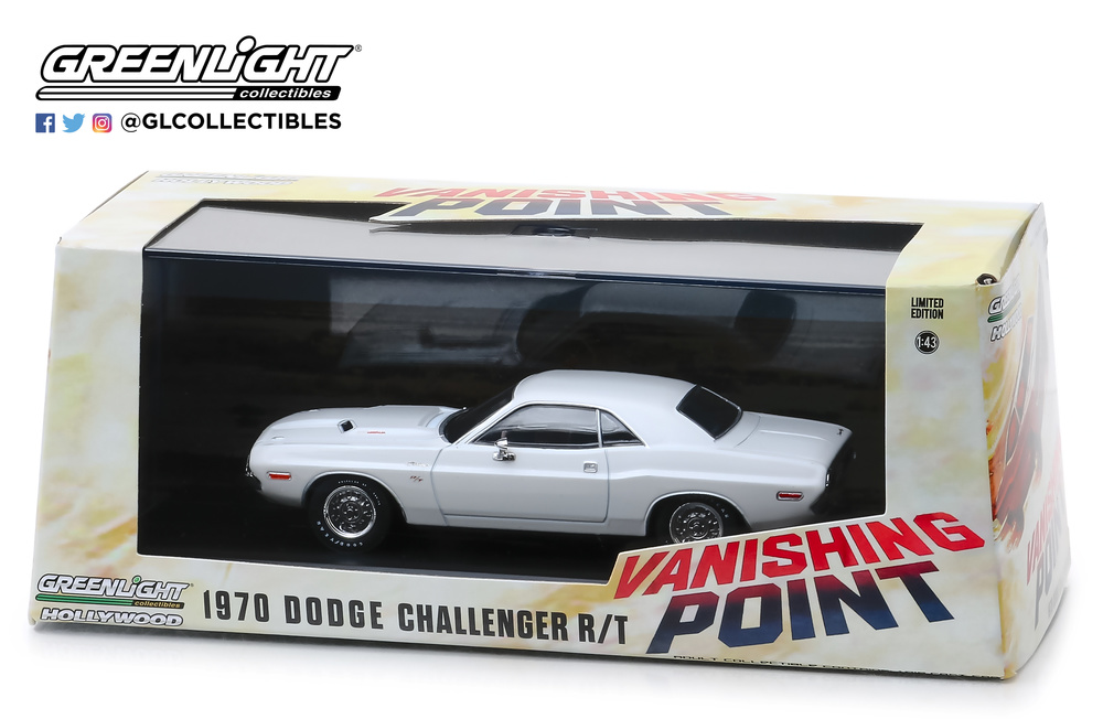 Dodge Challenger R//T 1970 Vanishing Point blanco maqueta de coche 1:18 GreenLight