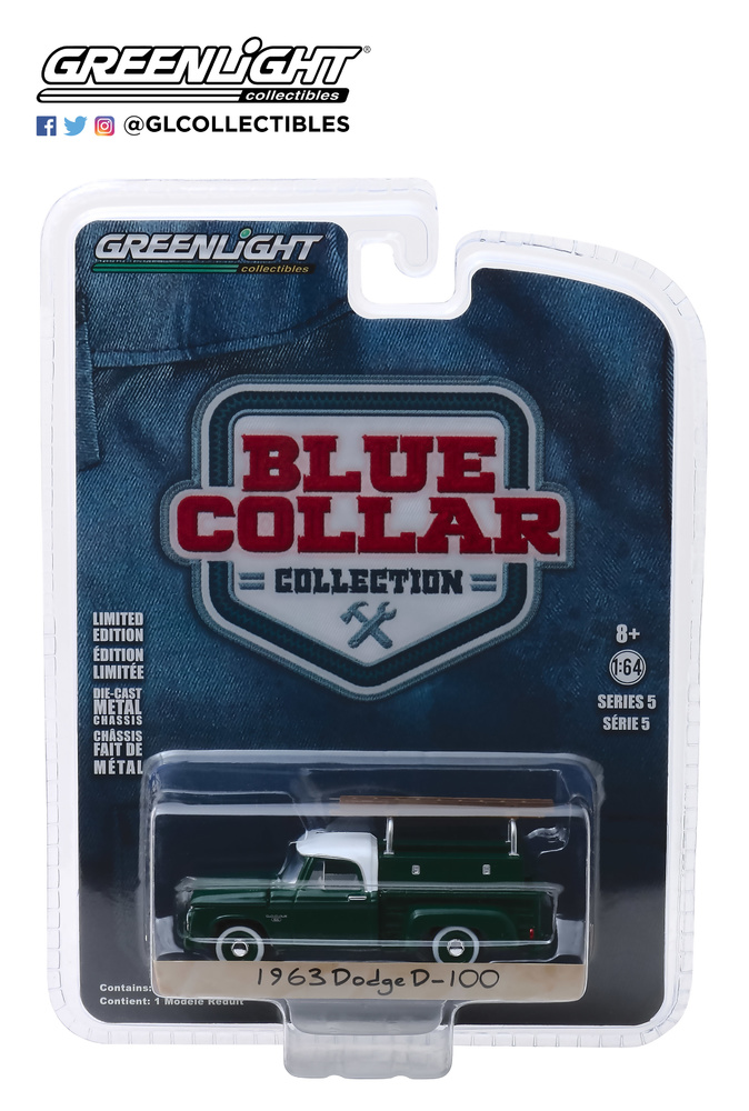35120-B 1:64 Blue Collar Collection Series 5 - 1963 Dodge D-100 con escalera