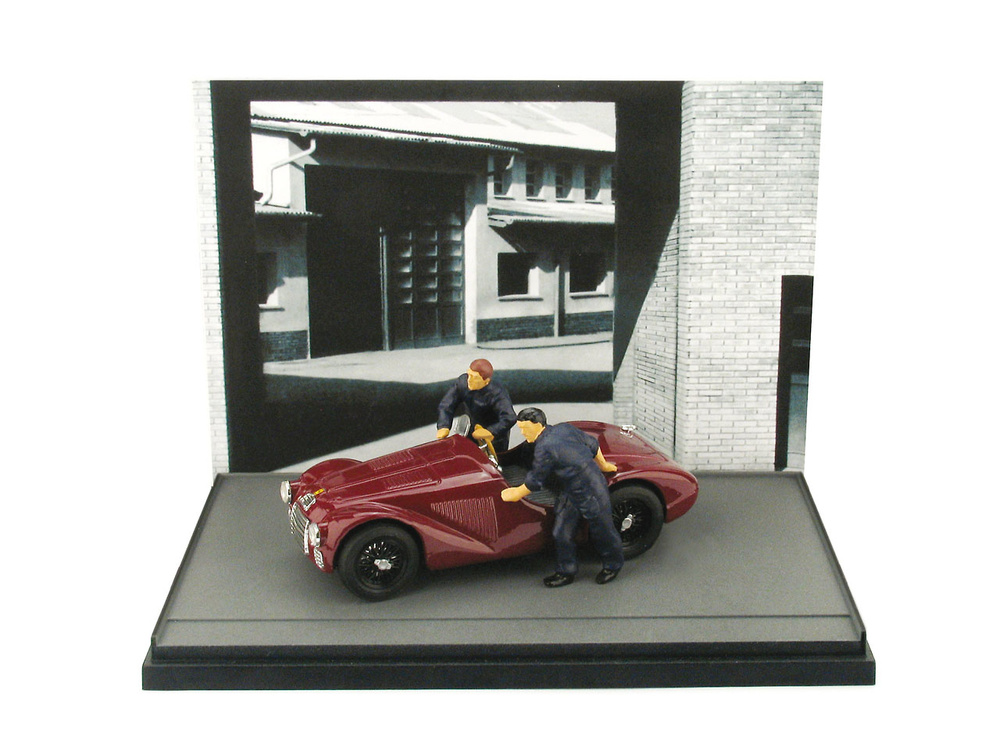 Ferrari 125 (1947) diorama con 2 mecánicos Brumm AS50 1/43