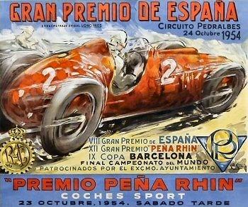 Poster del GP. F1 de España de 1954