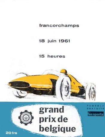 Poster del GP. F1 de Bélgica de 1961
