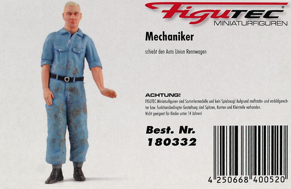 Figura Mecánico Auto Union dirigiendo vehículo Figutec 180332 1/18