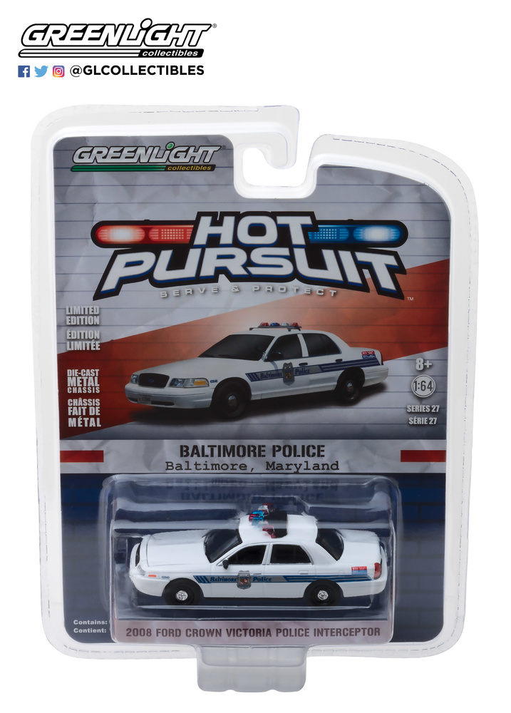 42840-D - 1-64 Hot Pursuit 27 - 2008 Ford Crown Vic Police Int - Baltimore Police