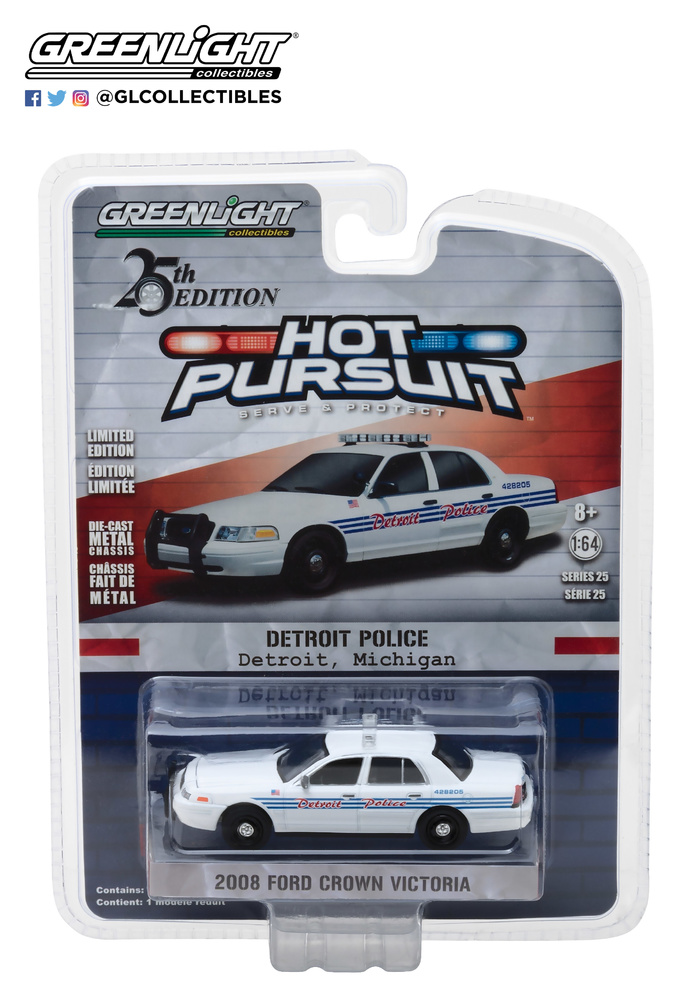 Ford Crown Victoria Interceptor de Policía de Detroit Michigan Greenlight 42820E 1/64