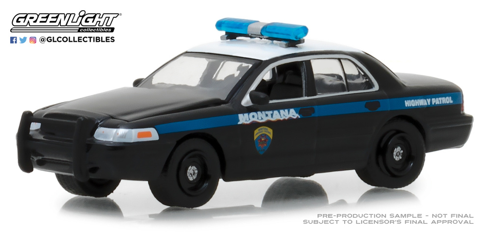 Ford Crown Victoria Police Interceptor Montana Highway Patrol (2001) 42860D Greenlight 1/64