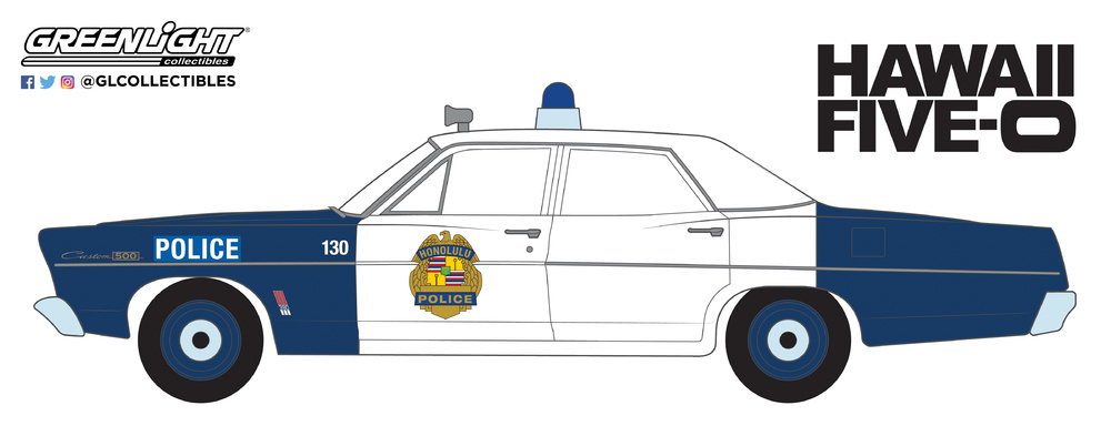 Ford Custom Honolulu Police Hawaii 5-0 (1967) Greenlight 1/64