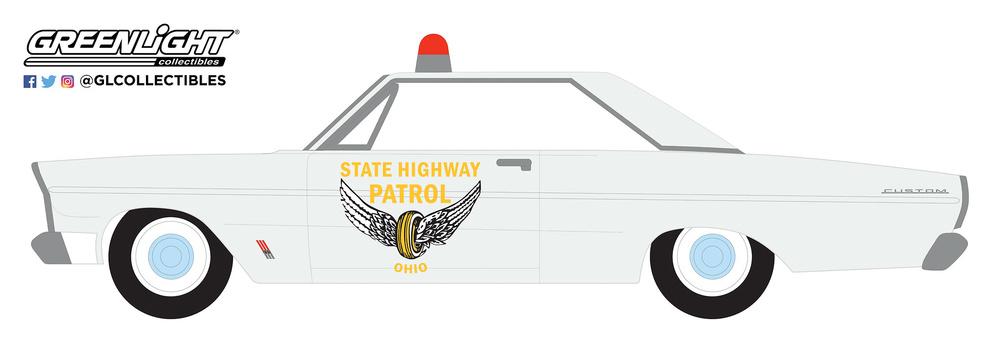 Ford Custom - Patrulla de Carreteras del Estado de Ohio (1965) Greenlight 42880A 1/64