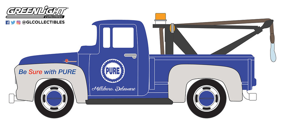 41050-A 1:64 Running on Empty Series 5 - 1956 Ford F-100 with Drop-in Tow Hook Pure Oil 'Be Sure With Pure'