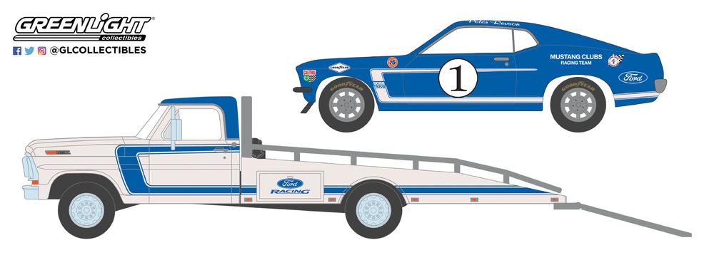 Ford F-350 Plataforma + Ford Mustang Boss 302 nº 1 Mustang Racing Club (1969) Greenlight 33150A 1/64