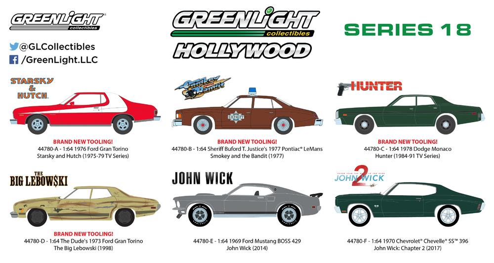 GRANDE LEBOWSKI Modello 1//43 FORD GRAN TORINO DieCast MODEL CAR Greenlight NEW